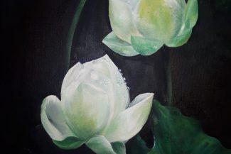 Tableau huile sur toile Fleur de lotus