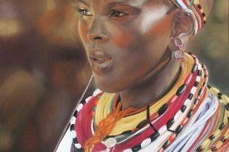 tableau peinture pastel Afrique - Abuja