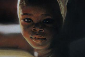 Tableau portrait pastel Afrique- Enfance africaine