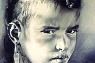 Tableau portrait pastel Maroc- Défi de feu
