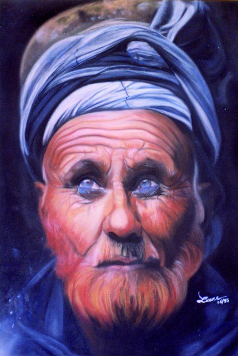 Tableau portrait pastel Inde - Erre en ciel