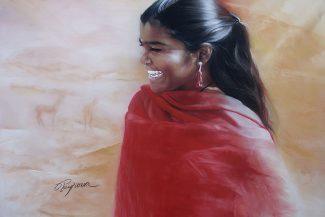 Tableau portrait pastel Inde - Le départ