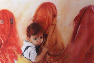Tableau portrait pastel Inde scène de rue - Les amauroses