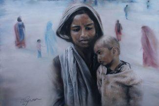 Tableau portrait pastel Inde scène de rue - Touchons du doigt la gêne, l