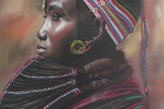 Tableau portrait pastel Afrique- La garde noire