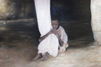 Tableau portrait pastel Afrique- Le temps qui passe