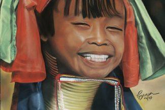 Tableau portrait pastel Birmanie- Paradoxe